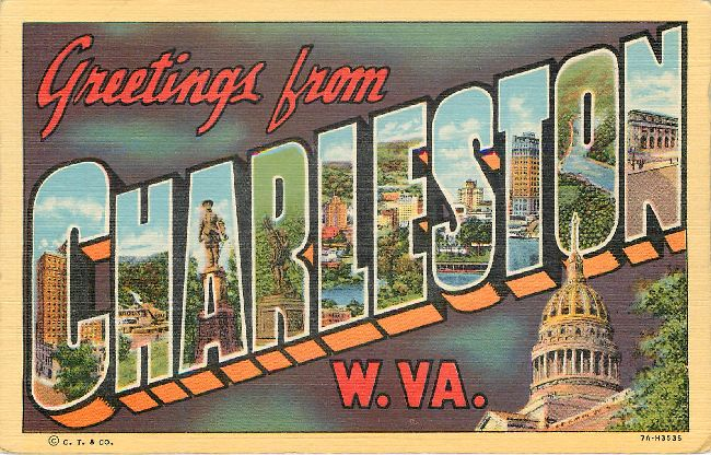 Greetings from Charleston, W. VA. Large Letter Postcard