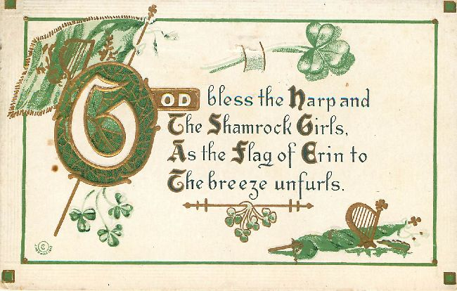 St. Patrick's Day Postcard-Gold bless the harp and the Shamrock