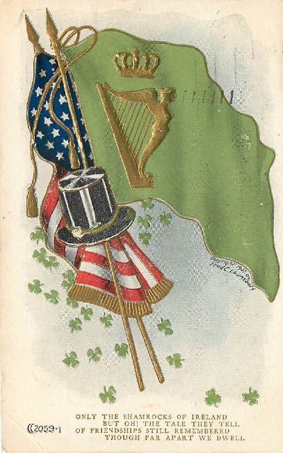 St. Patrick's Day Postcard - Only The Shamrocks of Ireland