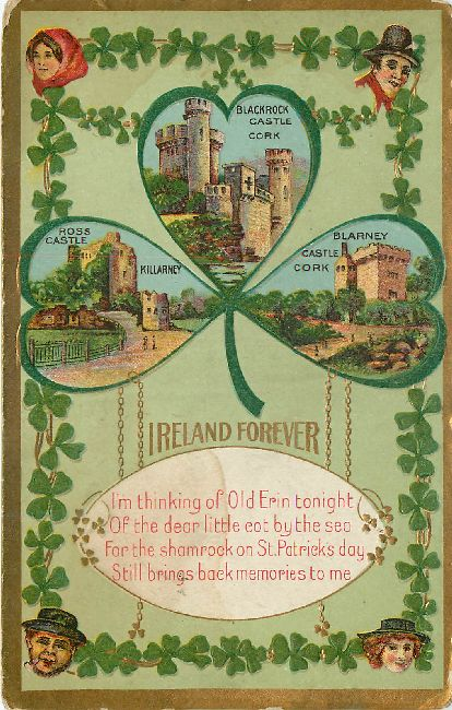 St. Patrick's Day Postcard-Ireland Forever-Shows Castles