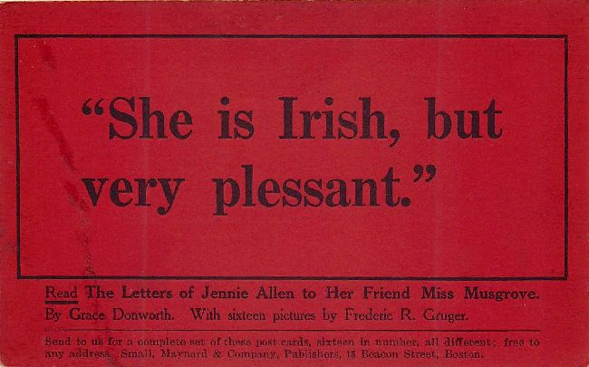 "St. Patrick's Day Postcard-Red-""She is Irish, but very plessant"""