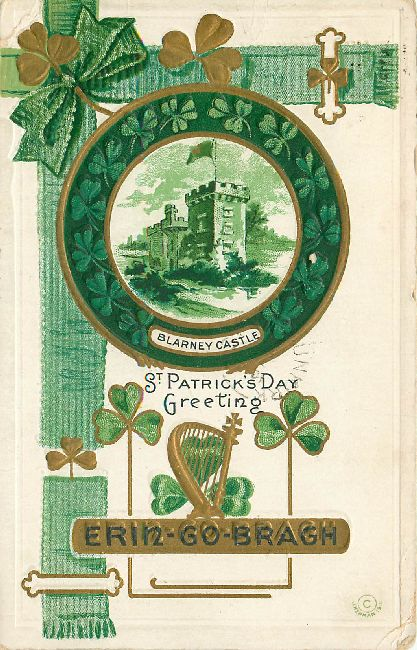 St. Patrick's Day Greeting Postcard-Blarney Castle-Erin Go Bragh