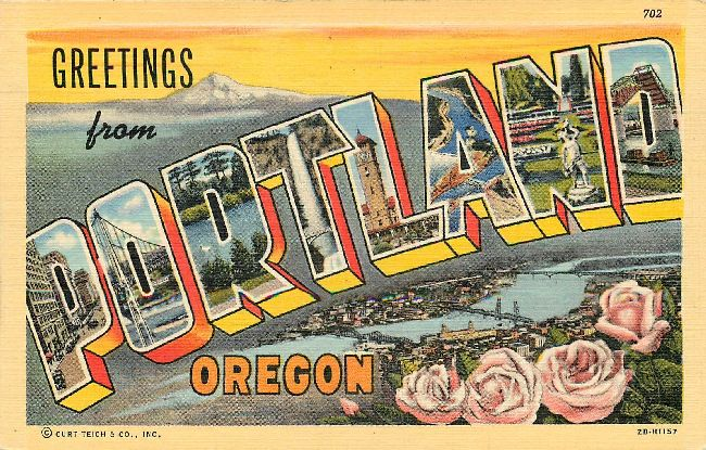 Large Letter Postcard-Greetings from Portland, Oregon