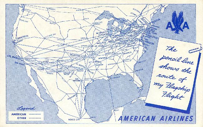 American Airline Pencil in Flag Ship Flight Postcard
