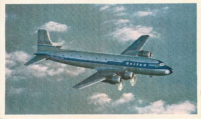 United Airliners 50 passenger DC-6 Plane Postcard