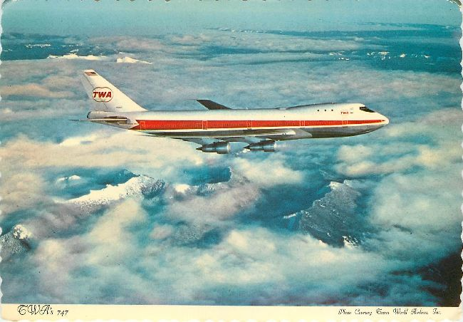 Trans World Airlines Postcard-TWA's 747