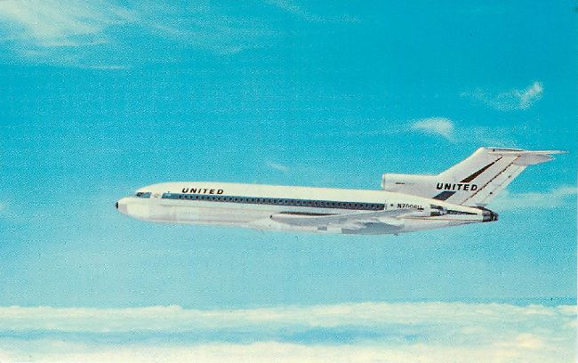 United Airlines Postcard-Boeing 727