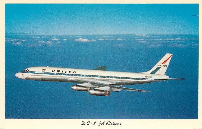 United Airlines Postcard-DC-8 Jet Airliner