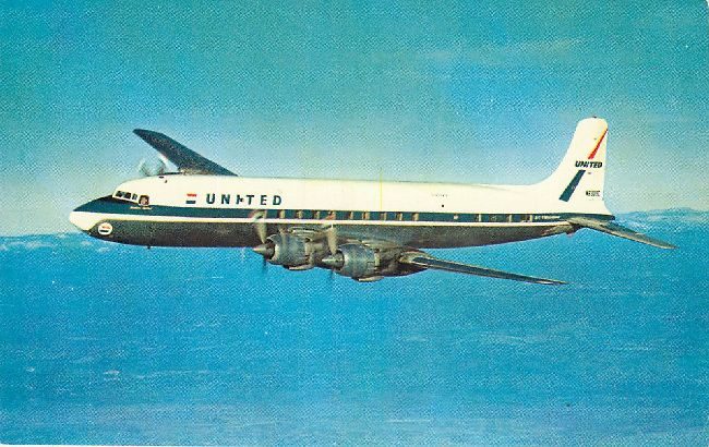 United Airlines Postcard-DC-7 Mainliners