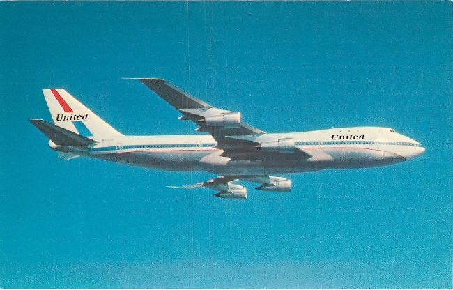 United Airlines Postcard-747