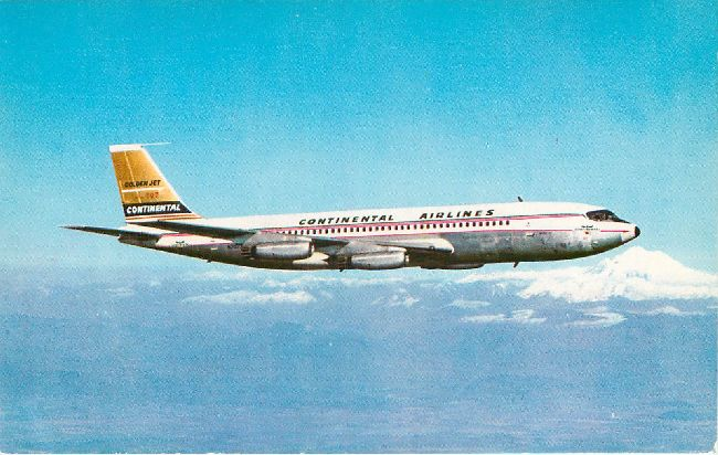 Continental Airlines Postcard-Golden Jet Boeing 707