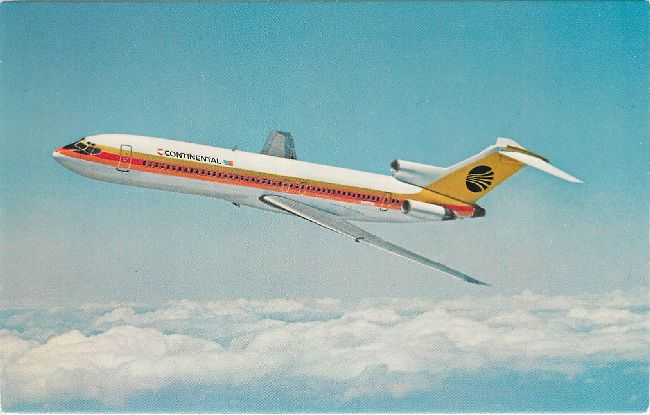Continental Airlines Postcard-The Continental 727
