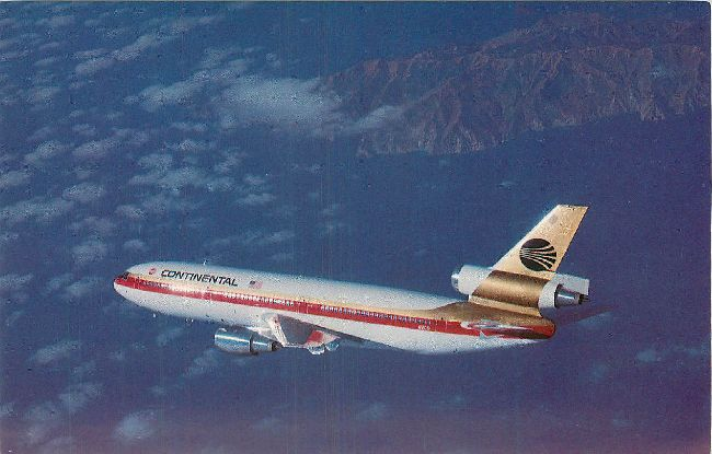 Continental Airlines Postcard-DC-10
