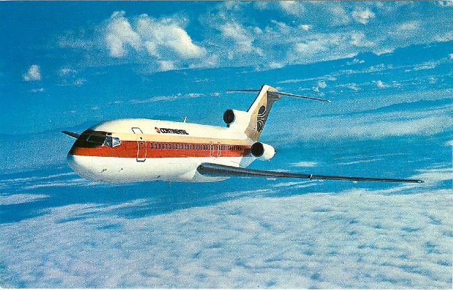 Continental Airlines Postcard-Boeing 727