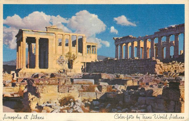 Trans World Airlines Postcard-Acropolis at Athens