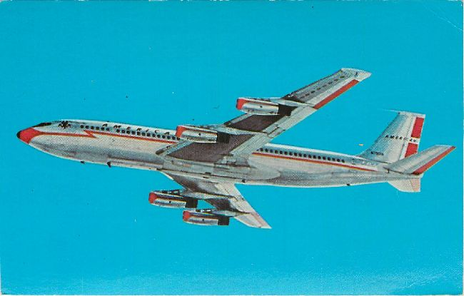 American Airlines Postcard-707 Jet