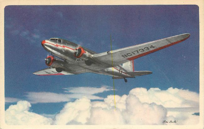 American Airlines Postcard-In Flight, Route to the Flagships