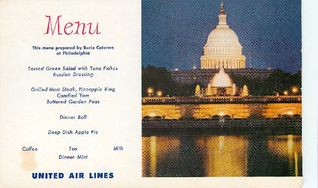 United Airlines Menu Postcard at Philadelphia by Berlo Caterers