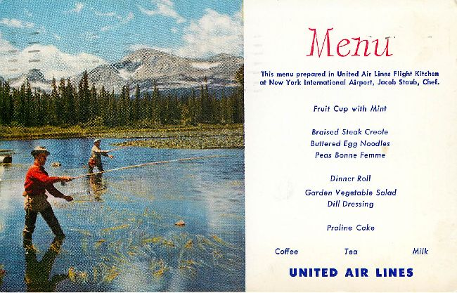 United Airlines Menu Postcard at New York International Airport