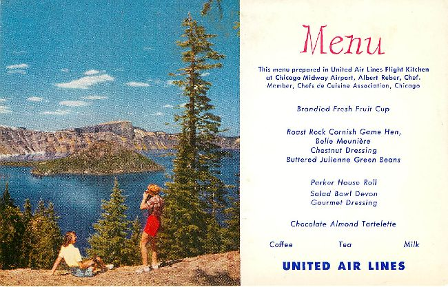 United Airlines Menu Postcard at Chicago Chef, Albert Reber