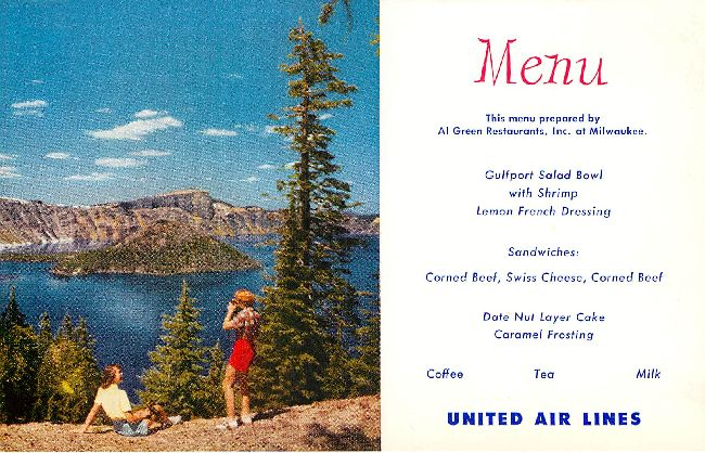 United Airlines Menu Postcard at Al Green Restaurants, Milwaukee