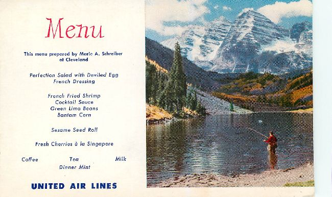 United Airlines Menu Postcard ,Cleveland -View Colorado Rockies