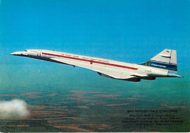 AVIATION FRANE - British Corp. Airplane BAC CONCORDE postcard
