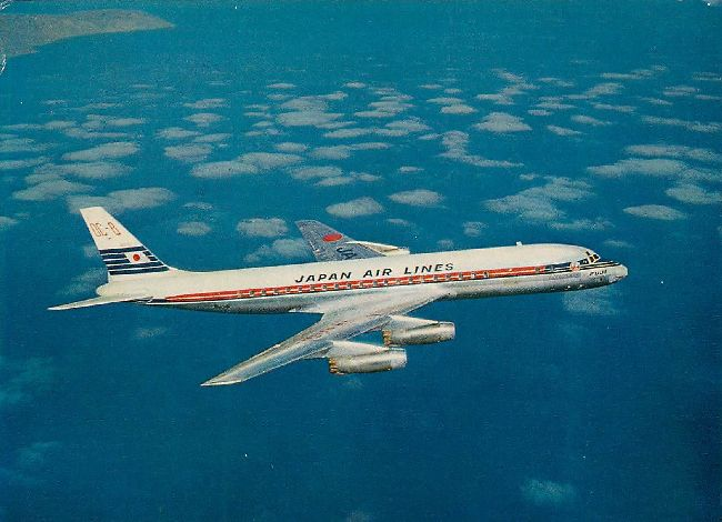 Japan Airlines Postcard DC-8 Jet Courier Printed in Japan