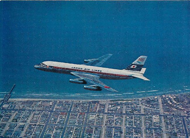 Japan Airlines Flying over the beach Convair 880M Jet Courier