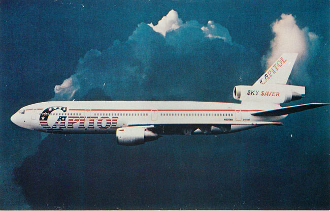Capitol Airways Postcard Douglas DC-10 Red White and Blue Plane