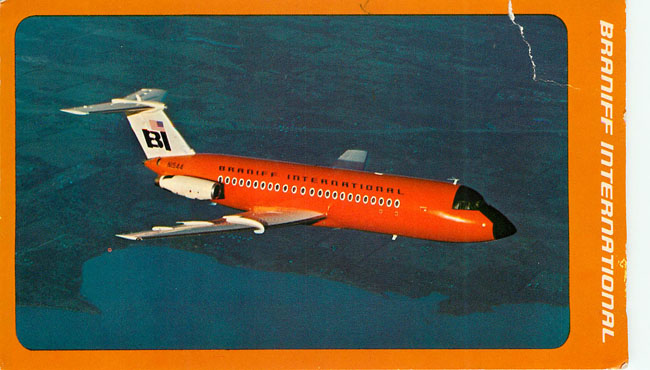 Braniff International Airlines Postcard 1-11 Fastback Twin Jet