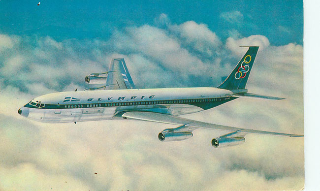 Olympic Airways Plane Postcard Boeing 707-320