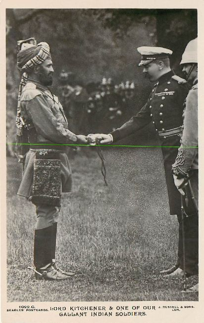 Lord Kitchener & One of his Gallant Indian Soldiers Postcard