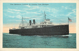 Pere Marquette Carferry 21 Crossing Lake Michigan Postcard