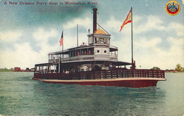 A New Orleans Ferry Boat in Mississippi River Postcard