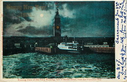 Ferry Building at Market St in San Fransico Bay Postcard
