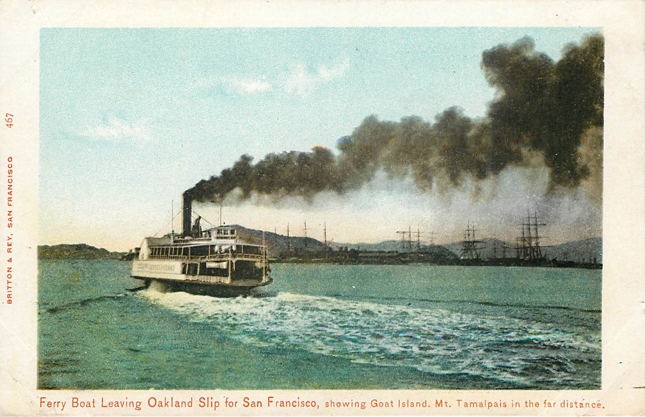 Ferry Boat leaving Slip for San Francisco Postcard