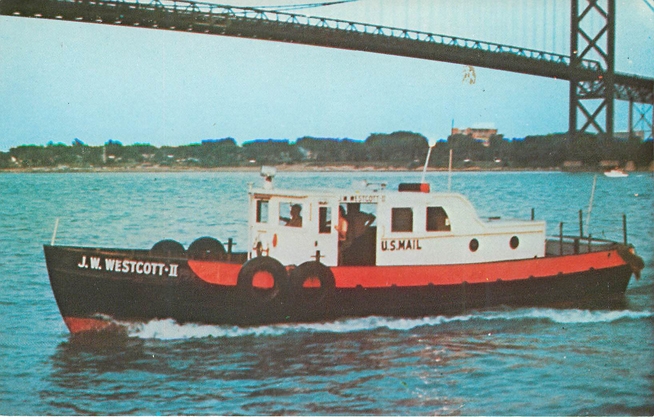J.W. Westcott-II Ferry Boat Postcard Detroit River, Michigan