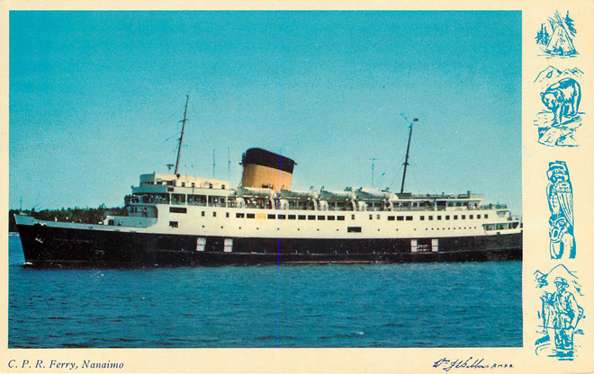 C.P.R Ferry Nanaimo Vancouver Island Ferry Boat Postcard