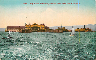 1696 Key Route Terminal From the Bay, Ferry Boat Postcard