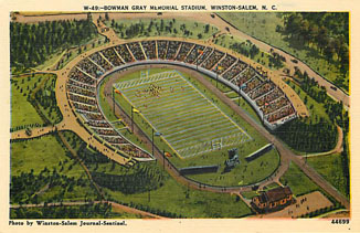Football Postcard-Bowman Gray Memorial Stadium Winston Salem, NC