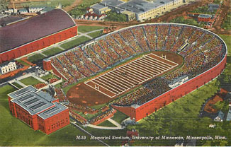 Football Postcard - Memorial Stadium, University of Minnesota