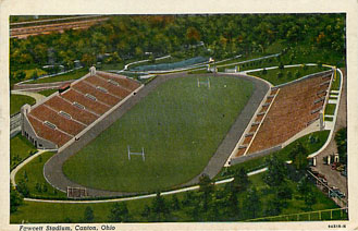 Football Postcard - Fawcett Stadium, Canton, Ohio