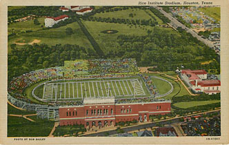 Football Postcard - Rice Institute Stadium, Houston, Texas