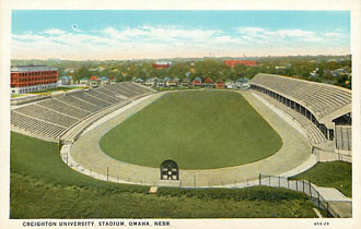 Football Postcard - Creighton University, Stadium, Omaha, Nebr.