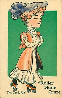 Roller Skate Craze The Candy Girl Postcard Postmarked 1907