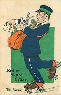 Roller Skate Craze - The Postman - Postcard