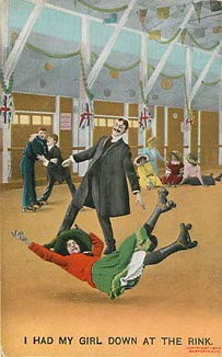 Bamforth & Co. Roller Skating Postcard - Girl Down at the Rink!