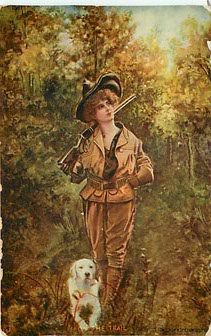 On The Trail Postcard - HUNTING - Copyright 1906 D. Benedict