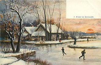 Ice Skating - Winter in Spreewalde - Postcard